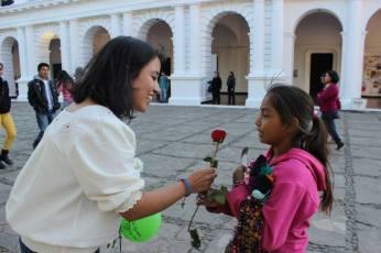 regalando flores